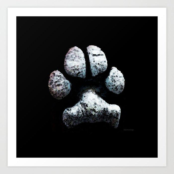 Dog Paw Print Pop Art Animal Lovers - South Paw Art Print