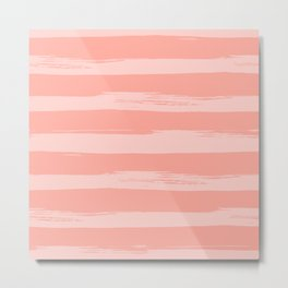Rose Pink Stripes Design Metal Print