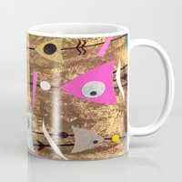 50s Mugs featuring Retro Fantasy 50s Brown Pink by Beatrice Roberts