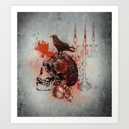 Skull and Crow Tattoo Art Print