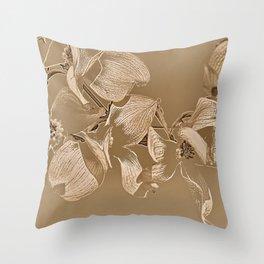 Dogwood Tree Flowers (sepia-light) Throw Pillow