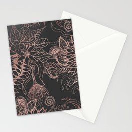 Chic Rose Gold and Black Flowers Leaves Stationery Cards