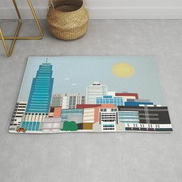 Jersey City, New Jersey - Skyline Illustration by Loose Petals Rug