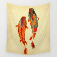 minimalist Wall Tapestries featuring Kolors Koi by Fernando Vieira