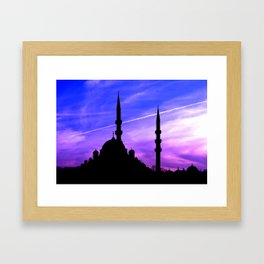 mosque and sunset Framed Art Print