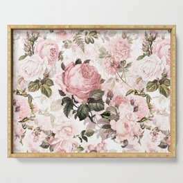 Vintage & Shabby Chic - Sepia Pink Roses Serving Tray