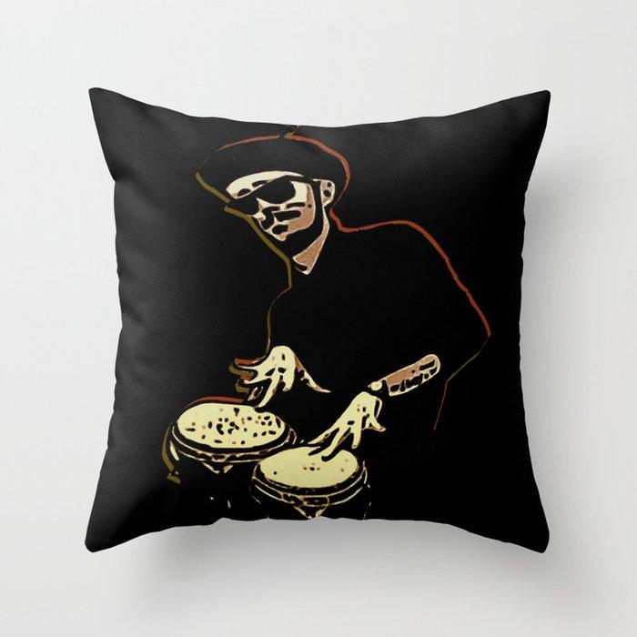 Bongo Beatin' Beatnik Throw Pillow