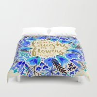 waldo Duvet Covers featuring The Earth Laughs in Flowers – Gold & Blue by Cat Coquillette