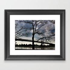 Bridge and Bare Trees Framed Art Print