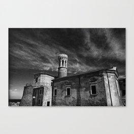 Castle, Piran, Mediterranean Sea, Film Photo, Black and White Canvas Print