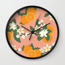 Orange Blossom Pattern Wall Clock