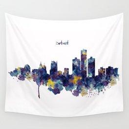 Detroit Skyline Silhouette Wall Tapestry