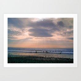 MOODY SKY OVER SURFERS IN CORNWALL Art Print