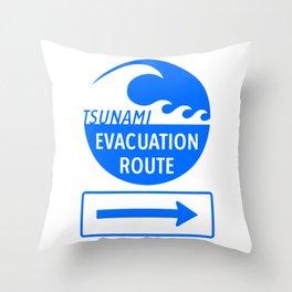 Tsunami Evacuation Route Throw Pillow