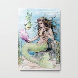 Mermaid with Mirror Metal Print