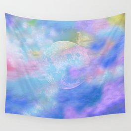 NEBULA MOON PARADISE BLUE PURPLE VIOLET Wall Tapestry