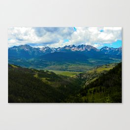 Gore Range with ranches below Canvas Print
