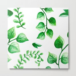Watercolour Ferns And Vines Leafy Green Continuous Pattern Metal Print