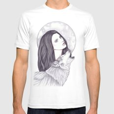 Wolf Moon Mens Fitted Tee White MEDIUM