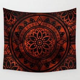 Burnt Orange & Black Patterned Flower Mandala Wall Tapestry
