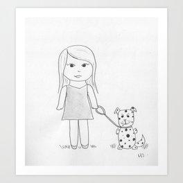 Her pet dog Art Print
