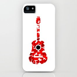 Guitar with red hearts- musical valentine gifts iPhone Case