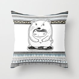 indie pattern bear Throw Pillow