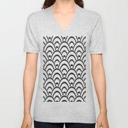 Japanese Seigaiha Dotted Seamless Pattern Geometrical Symbols Unisex V-Neck