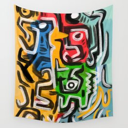 Primitive street art abstract Wall Tapestry