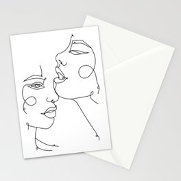 Two Abstract Faces Drawing, Fine One Line Art Stationery Cards