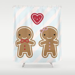 Cookie Cute Gingerbread Couple Shower Curtain