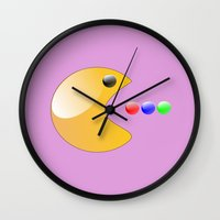 pacman Wall Clocks featuring Pacman by ArtSchool