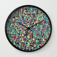 it crowd Wall Clocks featuring crowd by danielrcart