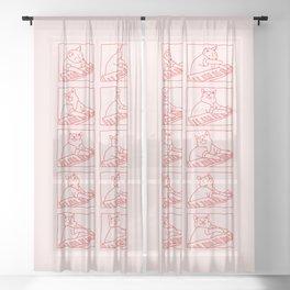 Cat in Meme Major Sheer Curtain