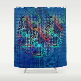 Modern guitar grunge Shower Curtain