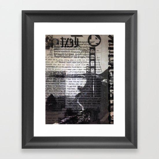Golden Gate Bridge Text Collage Framed Art Print