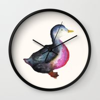 duck Wall Clocks featuring DUCK! by Okti