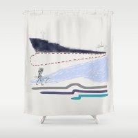runner Shower Curtains featuring Phoenix runner by Mike Pelland