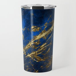 Blue Faux Marble With Gold Strike Veins Travel Mug