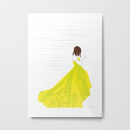 Yellow Dress Fashion Girl Texting Metal Print