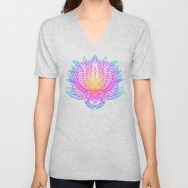 Botanical Lotus - Rainbow Unisex V-Neck