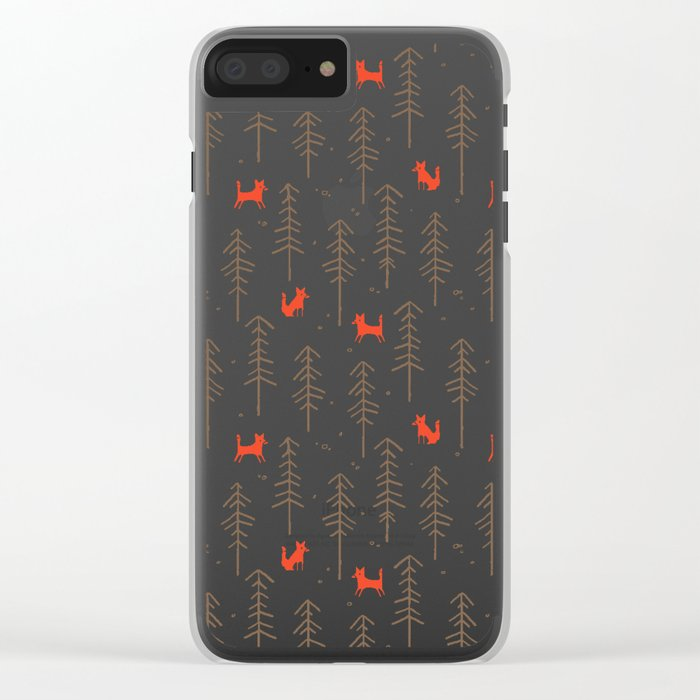 Fox hiding in the forest Clear iPhone Case