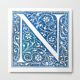 Letter N Antique Floral Letterpress Metal Print