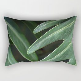 Tropical Leaves on Black Rectangular Pillow