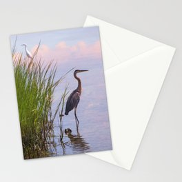 Blue Heron In Assateague Stationery Cards