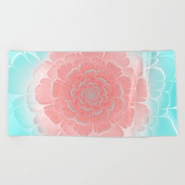 Romantic aqua and pink flower, digital abstracts Beach Towel