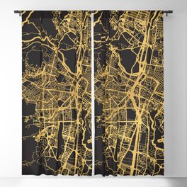 MEDELLIN COLOMBIA GOLD ON BLACK CITY MAP Blackout Curtain
