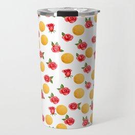 Grace - Watercolor Red Roses and Golden Polka Dots Pattern Travel Mug