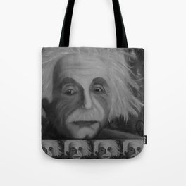 Albert Einstein, Original painting by Lu, black-and-white Tote Bag