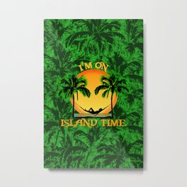 Palm Trees Tropical Island Time Metal Print